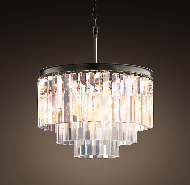 Odeon Clear Glass Hanging Chandelier 3 Rings