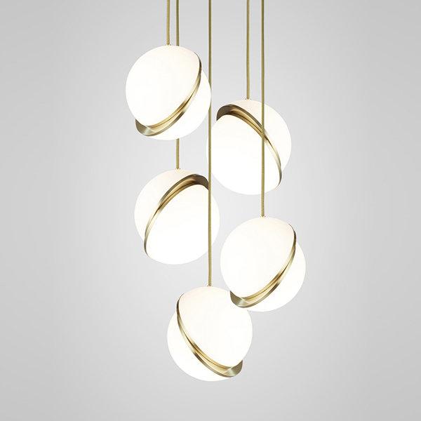 Crescent Chandelier 5 Gold