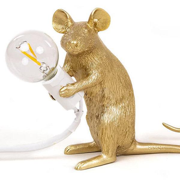 Seletti Big Mouse Lamp #2 Gold H21 Настольная Лампа Мышь
