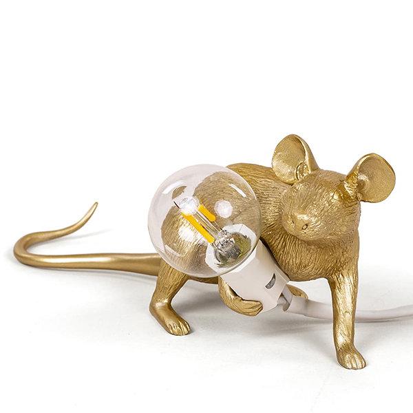 Seletti Big Mouse Lamp #3 Gold H16 Настольная Лампа Мышь