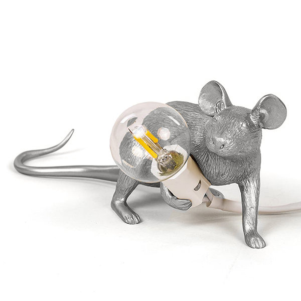 Seletti Big Mouse Lamp #3 Silver H16 Настольная Лампа Мышь