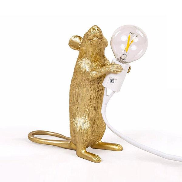 Seletti Mouse Lamp #1 Gold H15 Настольная Лампа Мышь