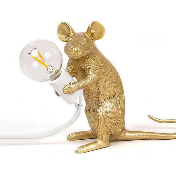 Seletti Mouse Lamp #2 Gold H12 Настольная Лампа Мышь