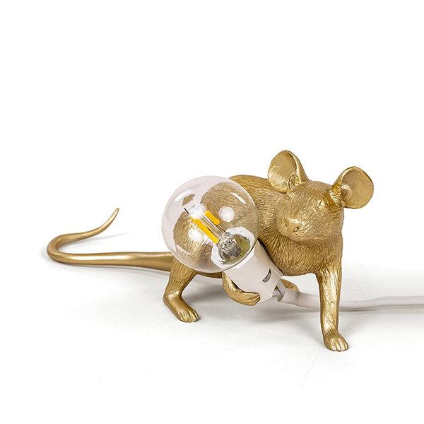 Seletti Mouse Lamp #3 Gold H8 Настольная Лампа Мышь