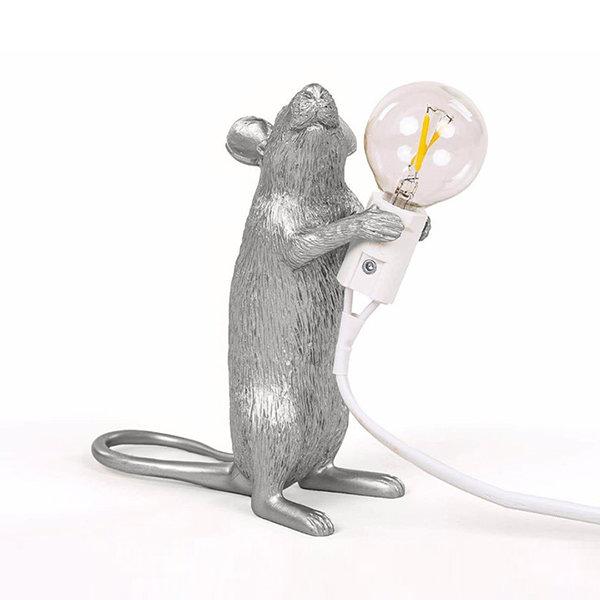 Seletti Mouse Lamp #1 Silver H15 Настольная Лампа Мышь