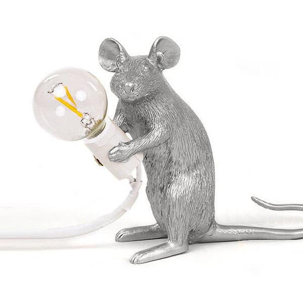 Seletti Mouse Lamp #2 Silver H12 Настольная Лампа Мышь